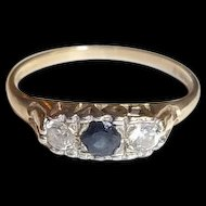 9 Ct Gold 0.1 Ct Sapphire & 0.14 CTW Zircon LOVE Mount Ring, Size M (US 6 1/4)