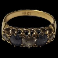 Victorian 18ct Gold Old Cut Diamond & Sapphire Ring, UK Size 'L' (US size 5 3/4)