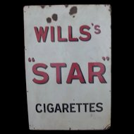 Wills's Star Cigarettes Enamel On Steel Advertising Sign Circa 1910