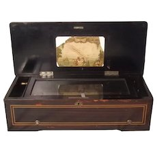 Late 19th Century Swiss Cylinder Musical Box With 77 Tines & 8 Airs