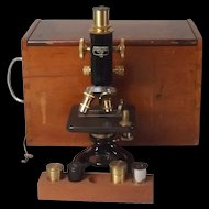 Circa 1920 Charles Perry Black Japanned And Lacquered Brass Monocular Microscope