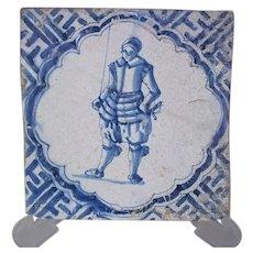 17th century Dutch Tile Young Armoured Soldier Chinese Wan-Li corner motifs