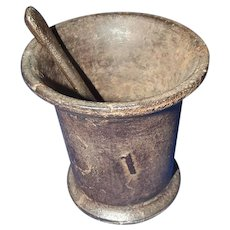 18th Century Iron Mortar & Pestle Spoon