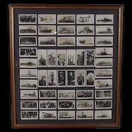 """Framed Full Set of Original Will's """"The Royal Navy"""" Cigarette Photographic Cards"""