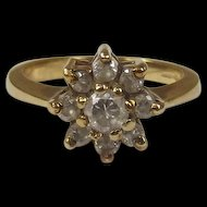 9ct Gold and Zirconia Ladies Flower Cluster Dress Ring Size M