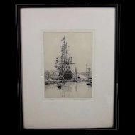 c1920's Etching Of HMS Victory  by Rowland Langmaid  - Signed