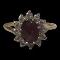 9 Ct Gold 1.75 Ct Garnet & 0.6 CTW Zircon's Flower Shape Ring Size I (US 4 3/4)