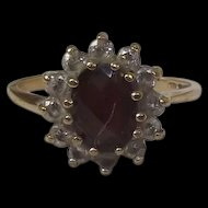 9 Ct Gold 1.75 Ct Garnet & 0.6 CTW Zircon's Flower Shape Ring Size I (US 4 3/4)