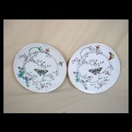 Pair Of Copeland Aesthetic Butterfly Plates c1875