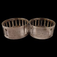 Initialed Pair of Silver Pierced Napkin Rings, London 1946, 35.6 g