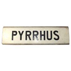 Blue Funnel Line Pyrrhus (1949) Cargo/Liner Name Board