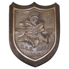 Bronze Ships Badge From USS Ajax AR-6 Repair Ship 1943-1997