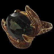 Vintage 18 Ct Gold & 5.5 Ct Dark Green Tourmaline Cocktail Ring, UK Size O