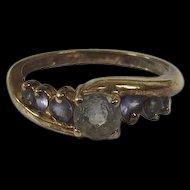 9 Ct Gold & 0.78 CTW Aquamarine & Amethyst Ring, UK Size P, US 7.5