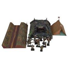 c1938 Moritz-Gottschalk Model Battlefield With 15 Lineol Soldiers