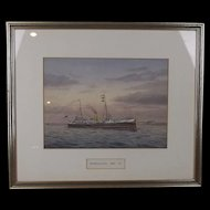Late Victorian Watercolour Of HMS Barracouta By George P.C. Gray