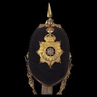 Edwardian Cheshire Regiment Spiked Black Cloth Spikehelmet