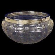 Birmingham 1911 Silver Rim Cut Glass Large Bowl