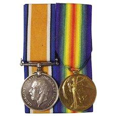 WW1 Medal Pair Pte. H.V. Adams Queen's Own Royal West Kent Regiment