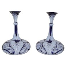 Pair of William Moorcroft 'Daffodil' Pattern Florian Ware Ships-Decanter Vases