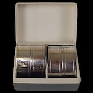Set of Four Sterling Silver 'FE' Initialled Napkin Rings, Hallmarked B-ham 1965