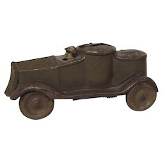 Pre-War French Tinplate Clockwork Toy Armoured Car