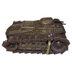 Japanese Pre-War Clockwork Tinplate Tank