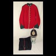 Edwardian Sherwood Foresters Notts & Derby Blue Cloth Helmet & Uniform