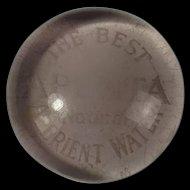 Vintage Edwardian Adenta Water Glass Advertising Paperweight