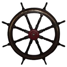 Large Wooden Eight Spoke Ships Wheel Circa 1900
