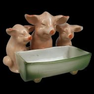 Early 20th Century German Novelty Ornament: Three Pigs At Trough
