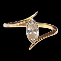 9 Ct Gold 0.3 Ct Solitaire Diamond Asymmetrical Ring, UK Size L, US 6