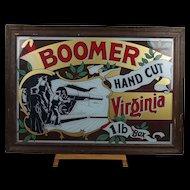 Framed Pub Tobacco Advertising Sign Boomer Hand Cut Virginia