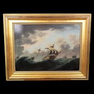 c.1810 Thomas Buttersworth Oil On Board Painting of a Ships Stormy Sea