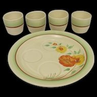 c1940 Clarice Cliff Orange Corolla Egg Cups & Plate Cruet Set