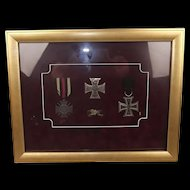 Cased Imperial Germany Franco Prussian War & WW1 Medal Display