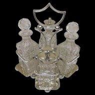 Circa 1910 Silver Plated & Cut Glass Condiment