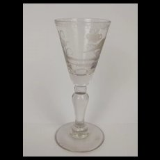 c1750  Inverted Baluster Etched Bird Funnel Shaped Cordial Glass