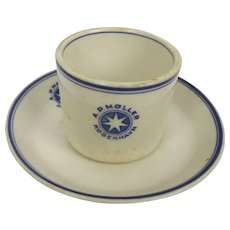 Circa 1940 A.P. Møller Sea Recovered China Tea Cup & Saucer