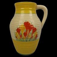 """Large Clarice Cliff Bizarre Lotus Jug """"Sungleam"""" Crocus Design c1935"""