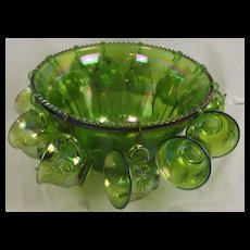 Green Carnival Glass Punch Bowl & 12 Matching Punch Cups