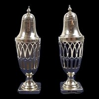 Pair Of Silver Pepperette Shakers With Glass Liners Sheffield 1924