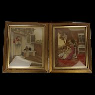 c1820 Pair Of Regency Silk & Woolwork Tapestry Pictures