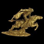 Gilt Spelter Figure Of A Dashing Cavalryman After Vasily Chapaev