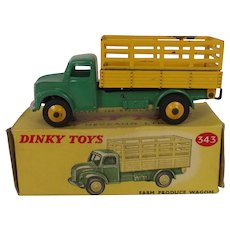 Boxed Dinky No.343 Green & Yellow Farm Produce Wagon 1954-1960