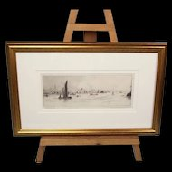 """Portsmouth"" Etching, c1930's, By Frank Harding (Signed)"