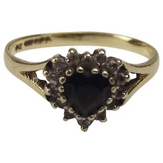 9t Yellow Gold Sapphire & Cubic Zirconia Heart Shape Ring UK Size N US 6 ¾