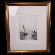 Rowland Langmaid (1897-1956) Etching of 'Spithead Forts' in Portsmouth, Signed