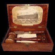 1863 HMS Ocean Ironclad Frigate Ship Launching Casket Set