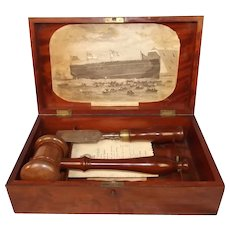 1863 HMS Ocean Ironclad Frigate Ship Launching Casket Set